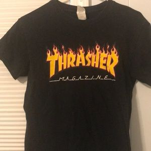 black printed thrasher shirt